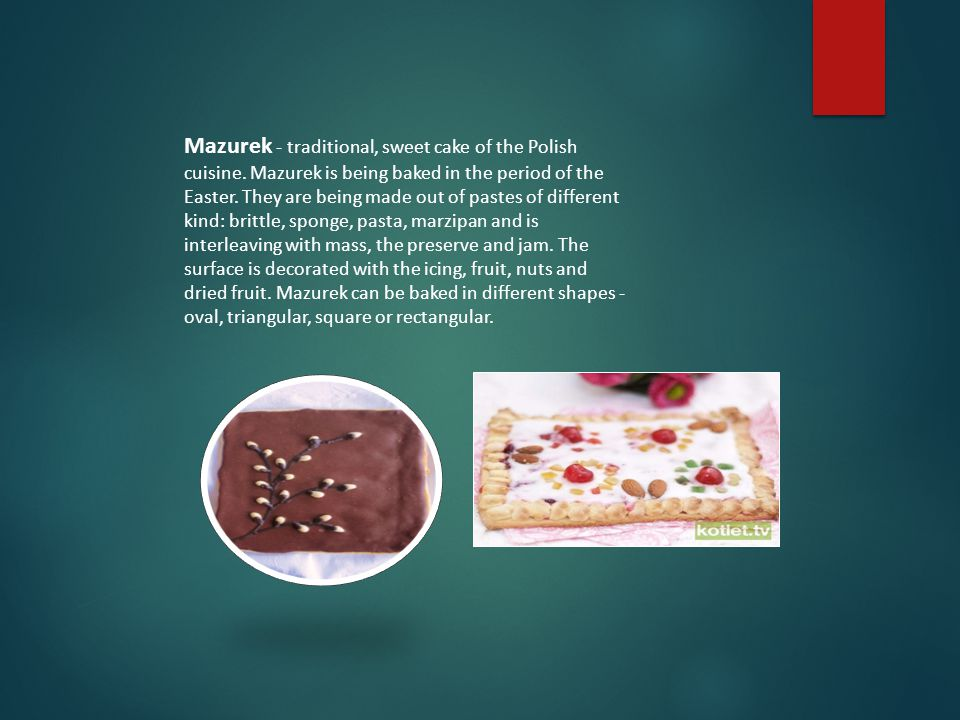 Mazurek - traditional, sweet cake of the Polish cuisine.