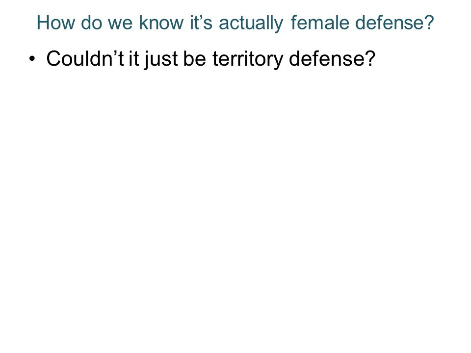 How do we know its actually female defense? Couldnt it just be territory defense?