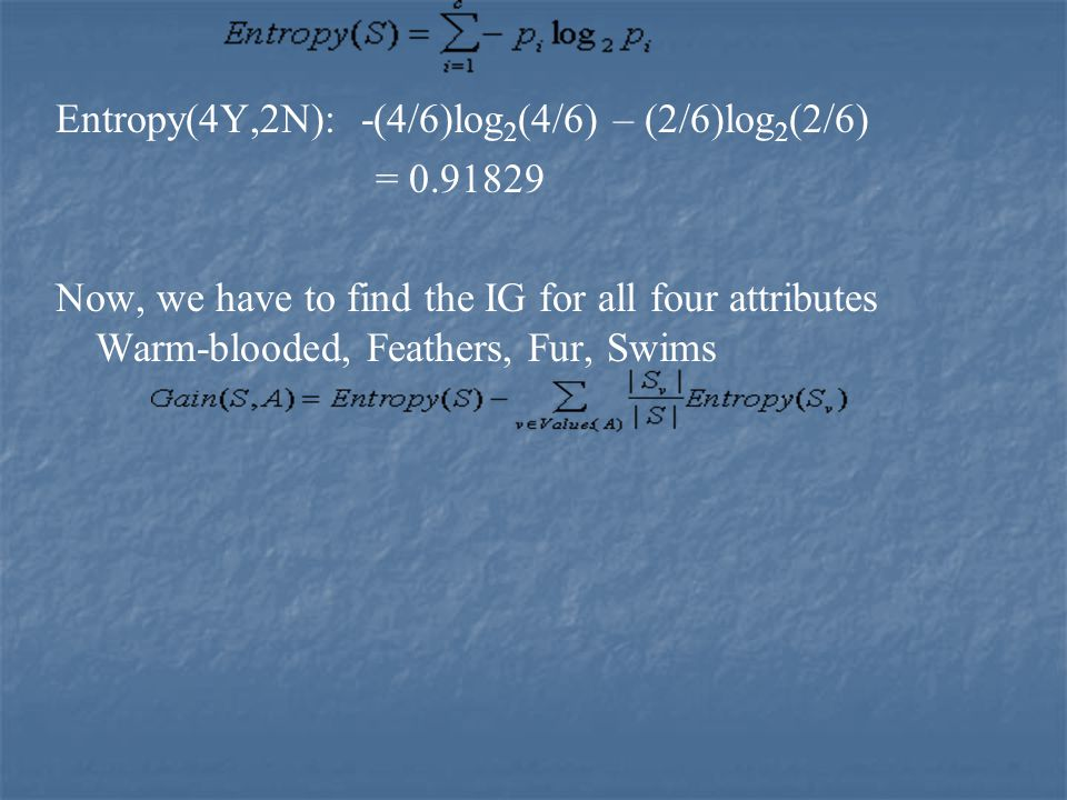 Entropy(4Y,2N): -(4/6)log 2 (4/6) – (2/6)log 2 (2/6) = 0.91829 Now, we have to find the IG for all four attributes Warm-blooded, Feathers, Fur, Swims