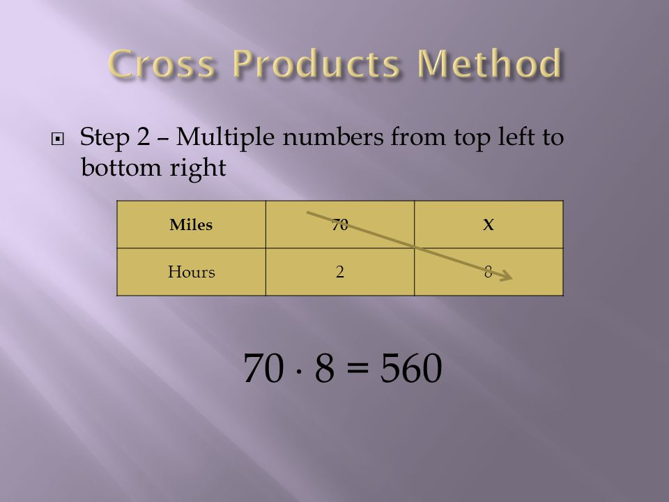 Step 2 – Multiple numbers from top left to bottom right Miles70X Hours28 70 8 = 560