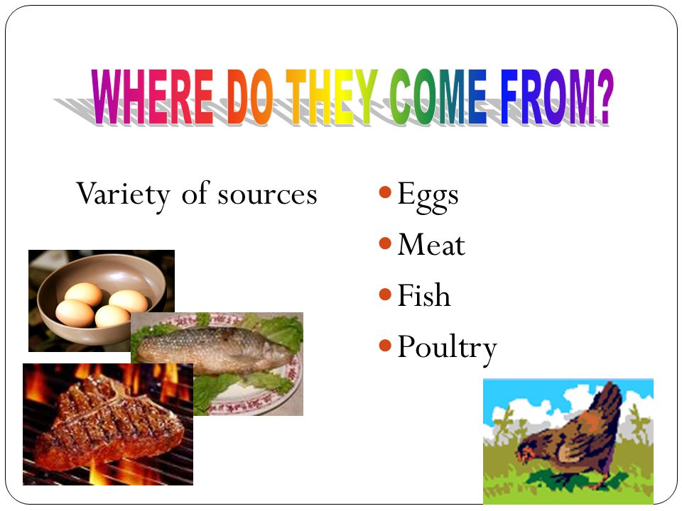 Other Sources of Proteins Fruits Fruits Vegetables Vegetables Grains Grains Nuts Nuts (They just do not have as many amino acids)