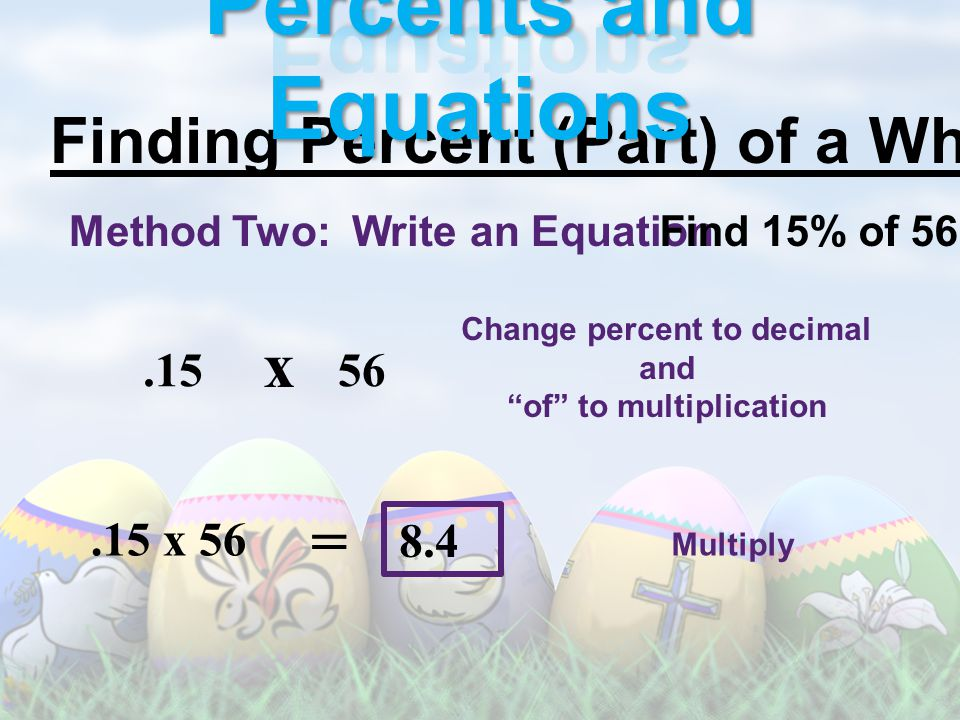Finding Percent (Part) of a Whole: Method Two: Write an EquationFind 15% of 56 Change percent to decimal and of to multiplication.15 x 56 Multiply = x 56