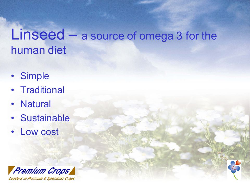 Linseed – a source of omega 3 for the human diet Simple Traditional Natural Sustainable Low cost