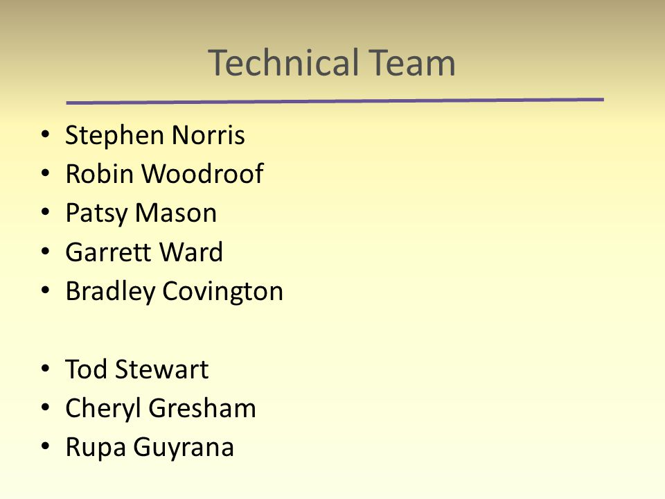 Technical Team Stephen Norris Robin Woodroof Patsy Mason Garrett Ward Bradley Covington Tod Stewart Cheryl Gresham Rupa Guyrana