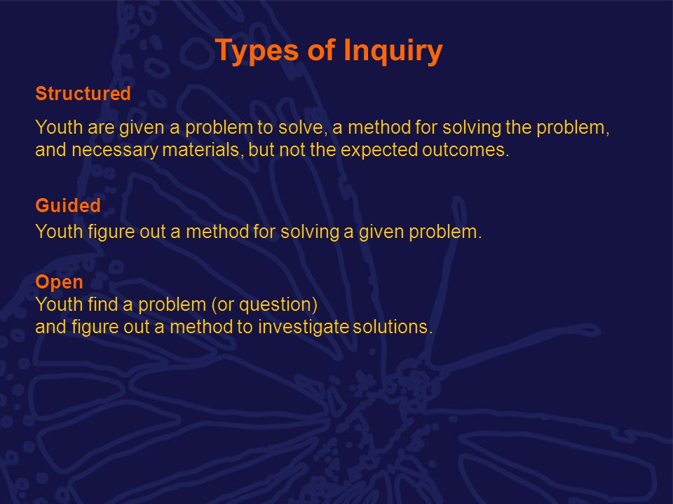 Types of Inquiry Structured Youth are given a problem to solve, a method for solving the problem, and necessary materials, but not the expected outcomes.