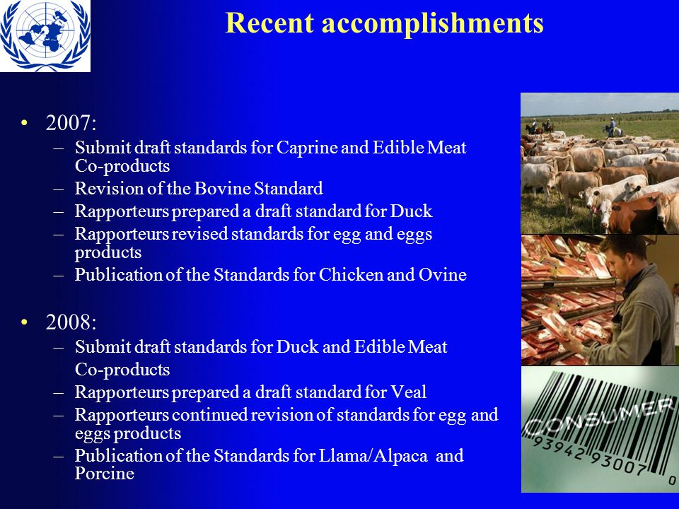 Recent accomplishments 2007: –Submit draft standards for Caprine and Edible Meat Co-products –Revision of the Bovine Standard –Rapporteurs prepared a draft standard for Duck –Rapporteurs revised standards for egg and eggs products –Publication of the Standards for Chicken and Ovine 2008: –Submit draft standards for Duck and Edible Meat Co-products –Rapporteurs prepared a draft standard for Veal –Rapporteurs continued revision of standards for egg and eggs products –Publication of the Standards for Llama/Alpaca and Porcine