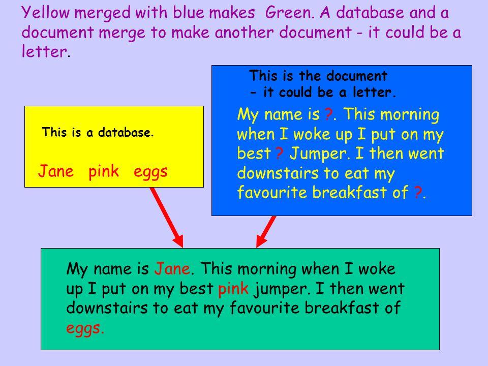NAMECOLOURFOOD Jane pinkeggs Paulbluebacon Emmagreensausages Jane pink eggs Jane pinkeggs Database Document
