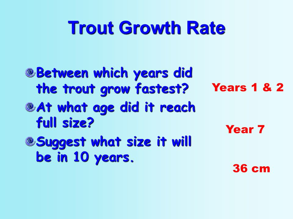 Between which years did the trout grow fastest? At what age did it reach full size? Suggest what size it will be in 10 years. Years 1 & 2 Year 7 36 cm