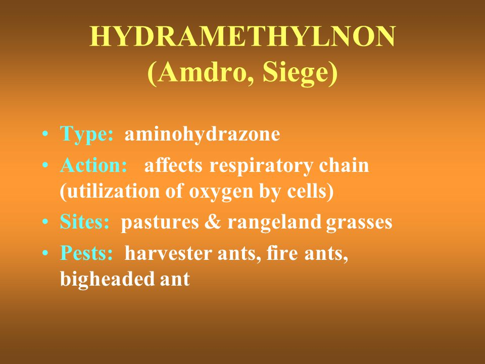 HYDRAMETHYLNON (Amdro, Siege) Type: aminohydrazone Action: affects respiratory chain (utilization of oxygen by cells) Sites: pastures & rangeland gras