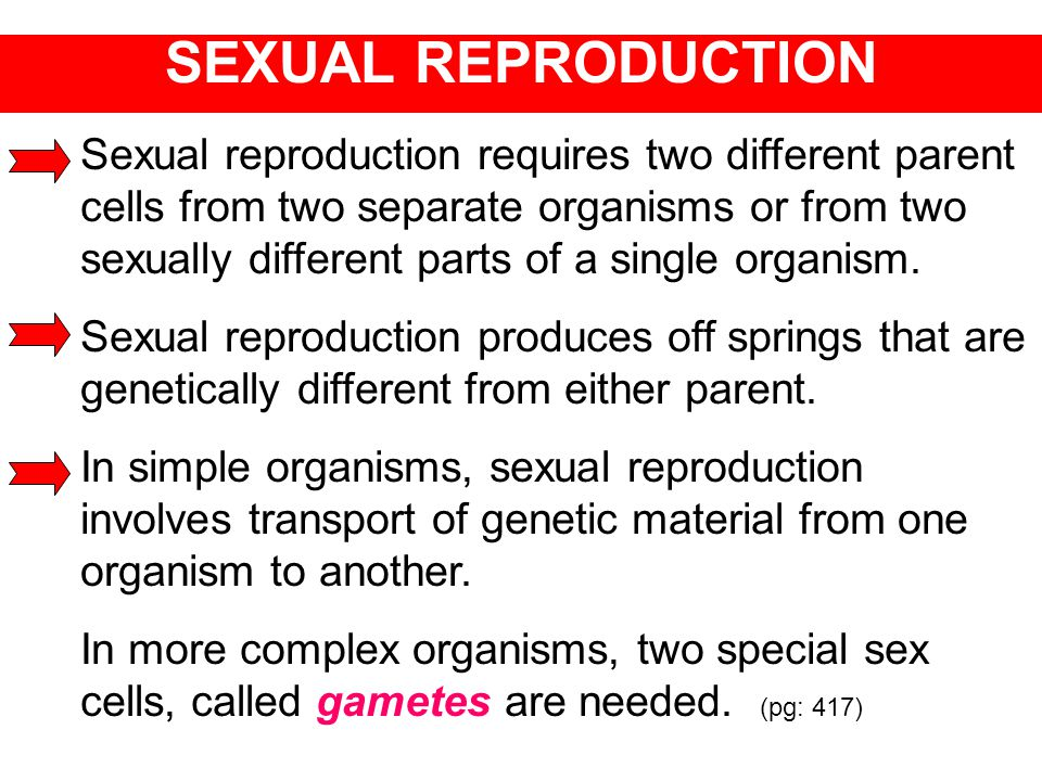 Sexual reproduction requires two different parent cells from two separate organisms or from two sexually different parts of a single organism. Sexual
