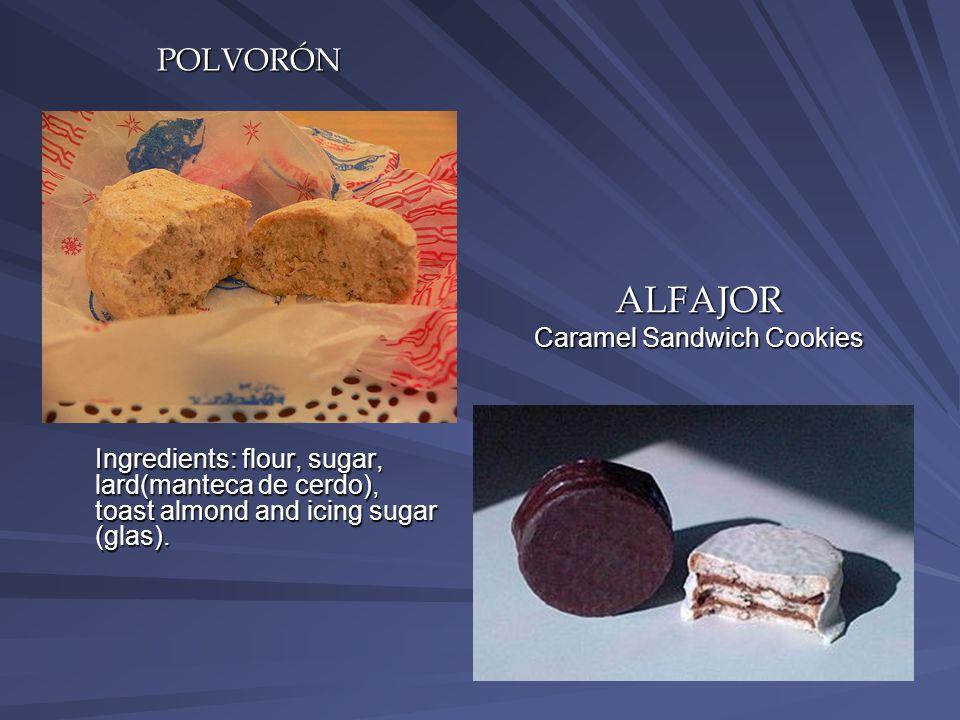 POLVORÓN Ingredients: flour, sugar, lard(manteca de cerdo), toast almond and icing sugar (glas).