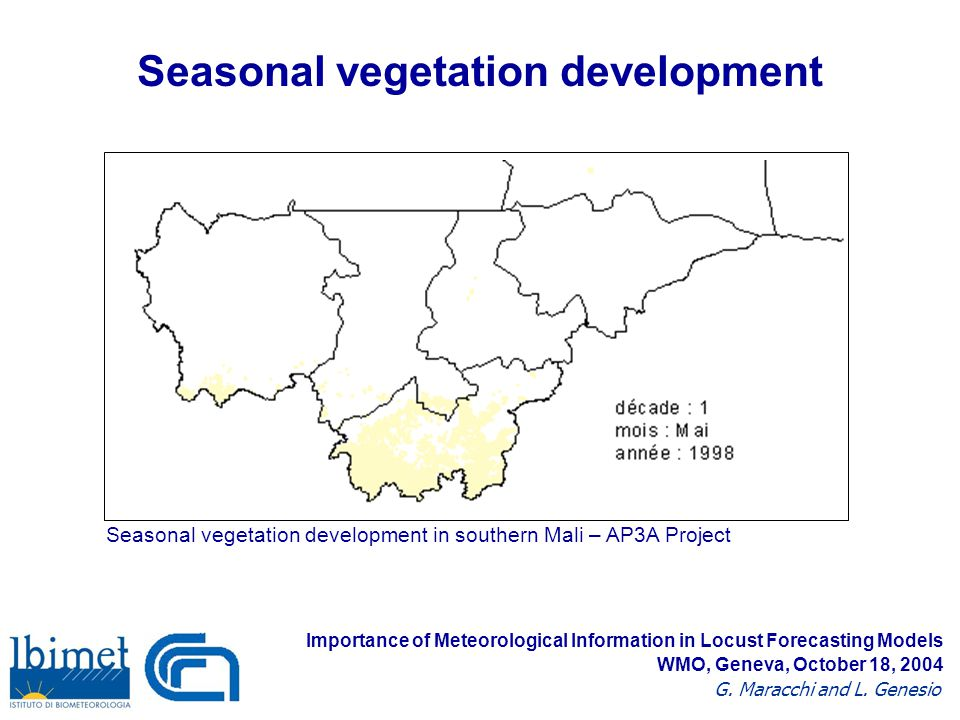 Seasonal vegetation development Importance of Meteorological Information in Locust Forecasting Models G.