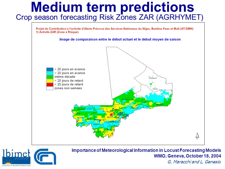 Medium term predictions Crop season forecasting Risk Zones ZAR (AGRHYMET) Importance of Meteorological Information in Locust Forecasting Models G.