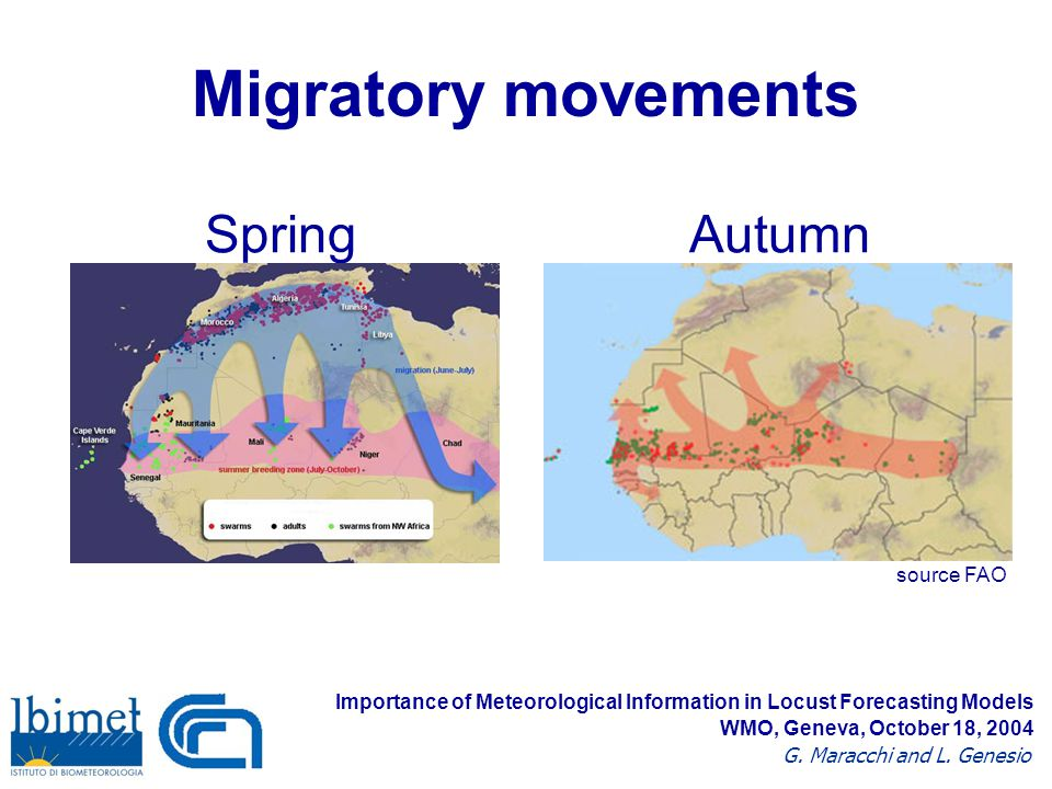 Migratory movements SpringAutumn source FAO Importance of Meteorological Information in Locust Forecasting Models G.