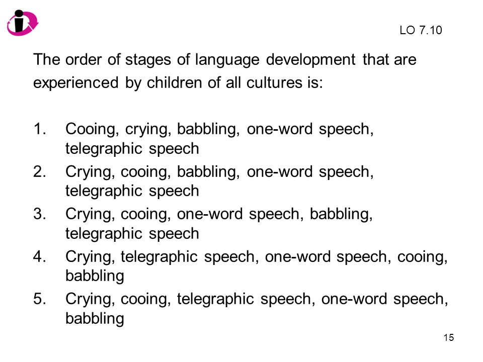 15 The order of stages of language development that are experienced by children of all cultures is: 1.Cooing, crying, babbling, one-word speech, teleg