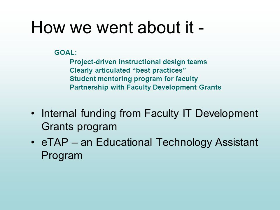 How we went about it - Internal funding from Faculty IT Development Grants program eTAP – an Educational Technology Assistant Program Project-driven instructional design teams Clearly articulated best practices Student mentoring program for faculty Partnership with Faculty Development Grants GOAL: