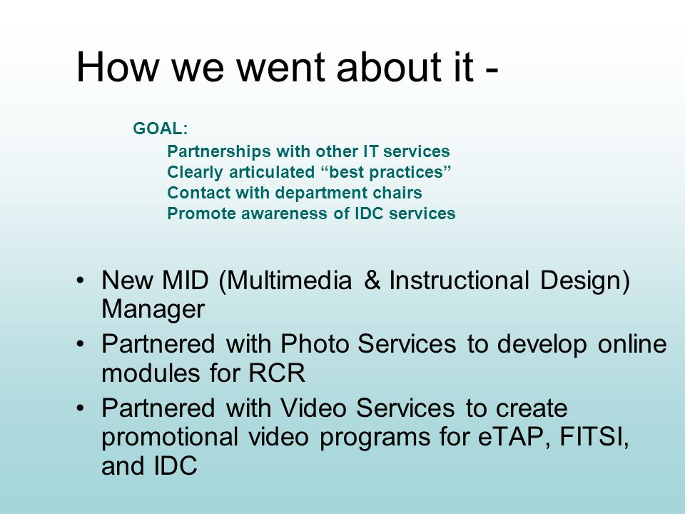 How we went about it - New MID (Multimedia & Instructional Design) Manager Partnered with Photo Services to develop online modules for RCR Partnered with Video Services to create promotional video programs for eTAP, FITSI, and IDC Partnerships with other IT services Clearly articulated best practices Contact with department chairs Promote awareness of IDC services GOAL: