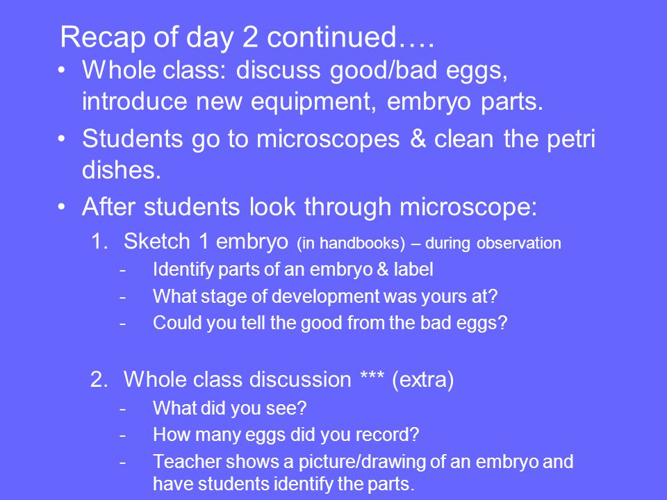 Recap of day 2 continued…. Whole class: discuss good/bad eggs, introduce new equipment, embryo parts. Students go to microscopes & clean the petri dis