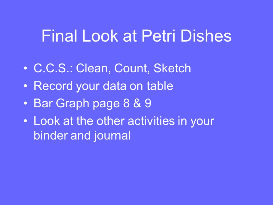 Final Look at Petri Dishes C.C.S.: Clean, Count, Sketch Record your data on table Bar Graph page 8 & 9 Look at the other activities in your binder and