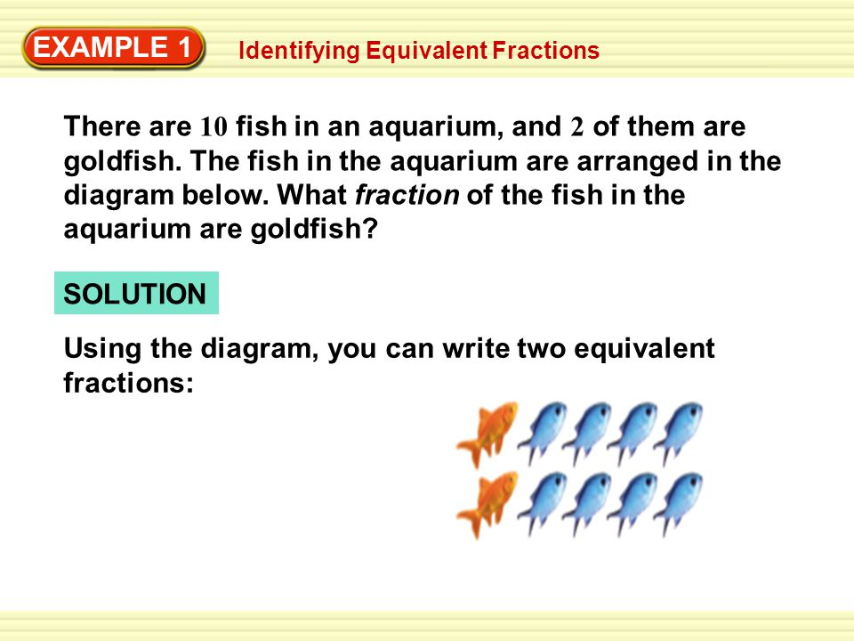 EXAMPLE 1 There are 10 fish in an aquarium, and 2 of them are goldfish. The fish in the aquarium are arranged in the diagram below. What fraction of t