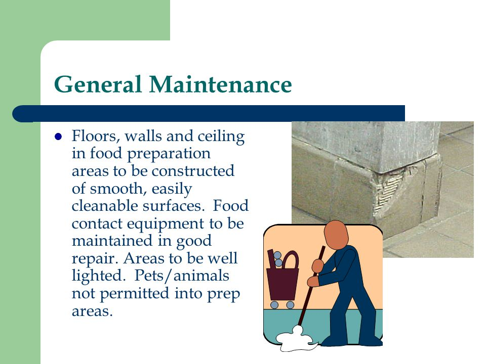 General Maintenance Floors, walls and ceiling in food preparation areas to be constructed of smooth, easily cleanable surfaces. Food contact equipment