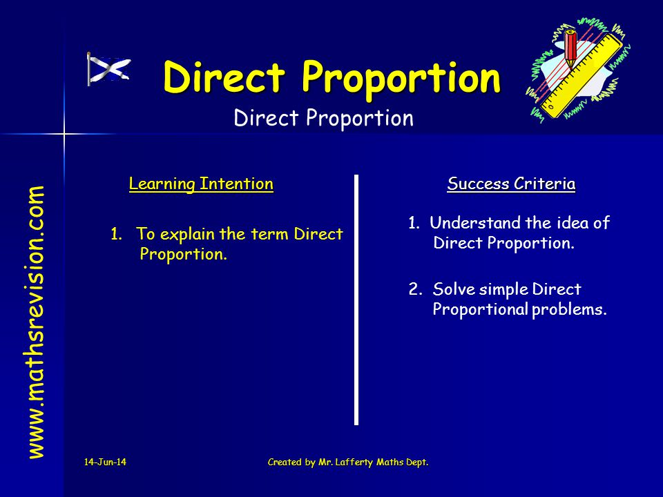 14-Jun-14Created by Mr. Lafferty Maths Dept. www.mathsrevision.com Learning Intention Success Criteria 1.To explain the term Direct Proportion. 1. Und