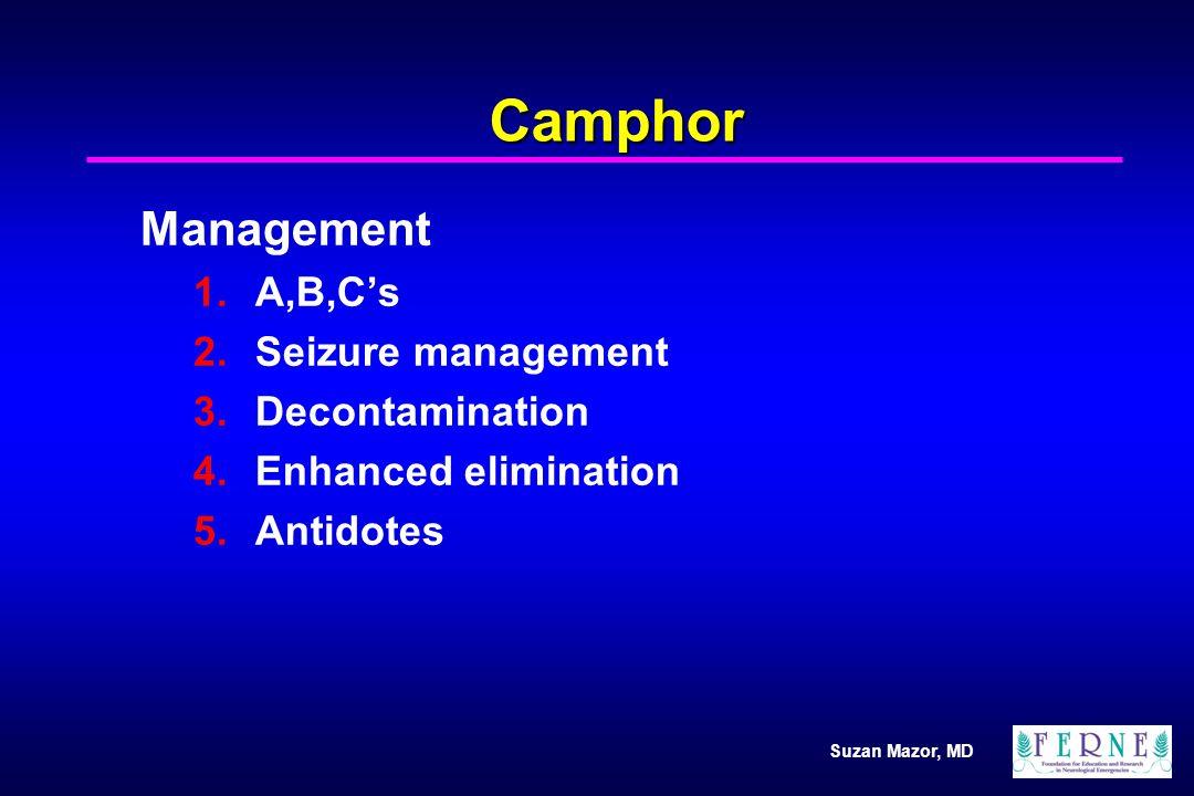 Suzan Mazor, MD Camphor Management 1.A,B,Cs 2.Seizure management 3.Decontamination 4.Enhanced elimination 5.Antidotes