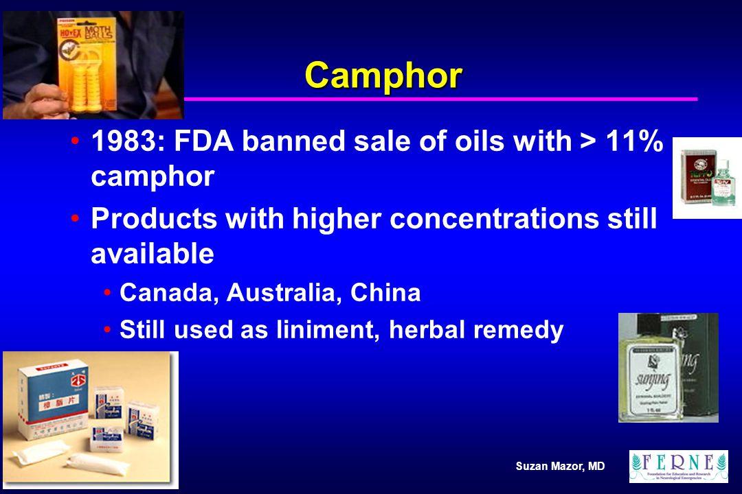Suzan Mazor, MD Camphor Common camphor containing products Mothballs Antiseptics Campho-phenique (10.8%) Muscle liniments Camphor spirits Cold remedies Vicks Vapo-rub (4.7%) Vicks Vapo-steam (6.2%)