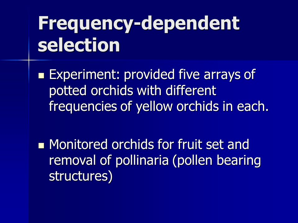 Experiment: provided five arrays of potted orchids with different frequencies of yellow orchids in each. Experiment: provided five arrays of potted or