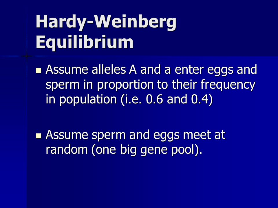 Hardy-Weinberg Equilibrium Assume alleles A and a enter eggs and sperm in proportion to their frequency in population (i.e. 0.6 and 0.4) Assume allele
