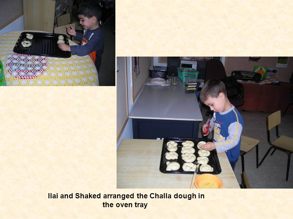 Ilai and Shaked arranged the Challa dough in the oven tray