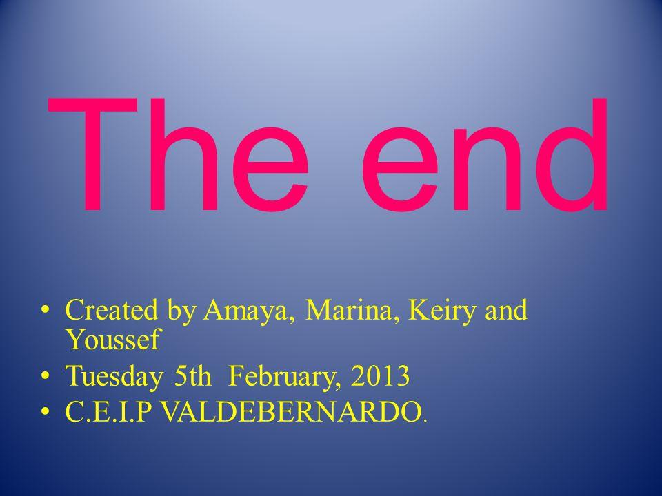 The end Created by Amaya, Marina, Keiry and Youssef Tuesday 5th February, 2013 C.E.I.P VALDEBERNARDO.