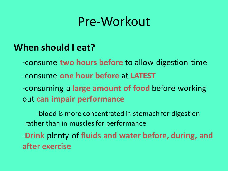 Pre-Workout When should I eat.