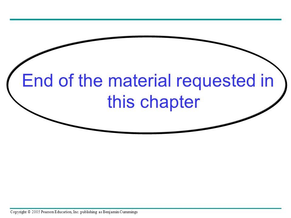 Copyright © 2005 Pearson Education, Inc. publishing as Benjamin Cummings End of the material requested in this chapter
