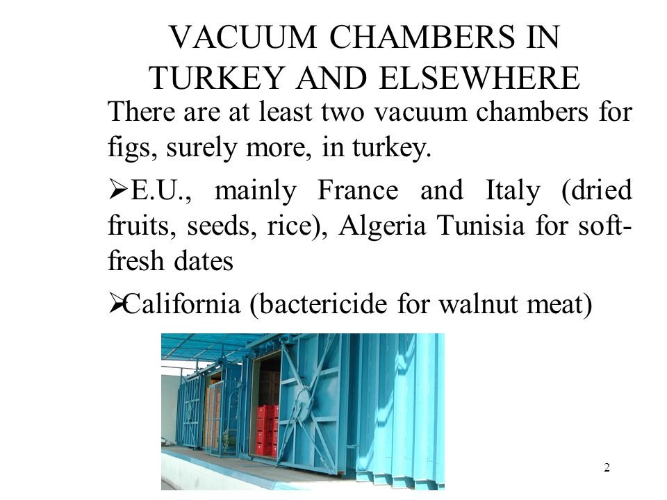 MB Alternatives in dried fig sector2 VACUUM CHAMBERS IN TURKEY AND ELSEWHERE There are at least two vacuum chambers for figs, surely more, in turkey.