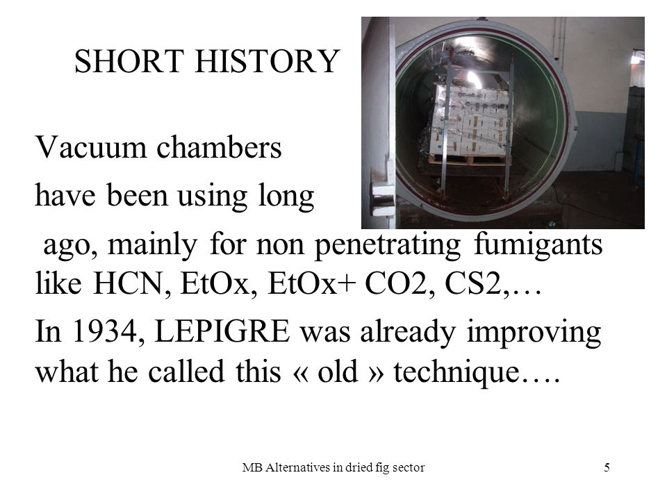 MB Alternatives in dried fig sector5 SHORT HISTORY Vacuum chambers have been using long ago, mainly for non penetrating fumigants like HCN, EtOx, EtOx+ CO2, CS2,… In 1934, LEPIGRE was already improving what he called this « old » technique….