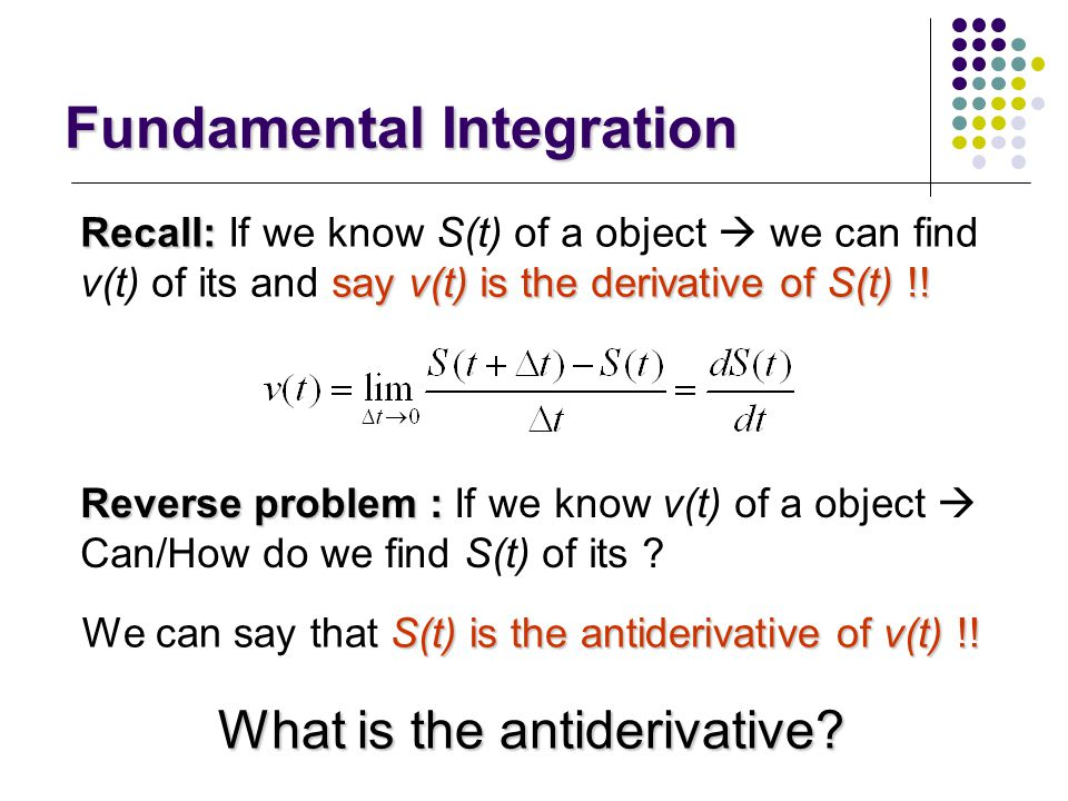 Fundamental Integration Integration Integration What is the integration (calculus)? Why do we use the integration (calculus)? When do we use the integ