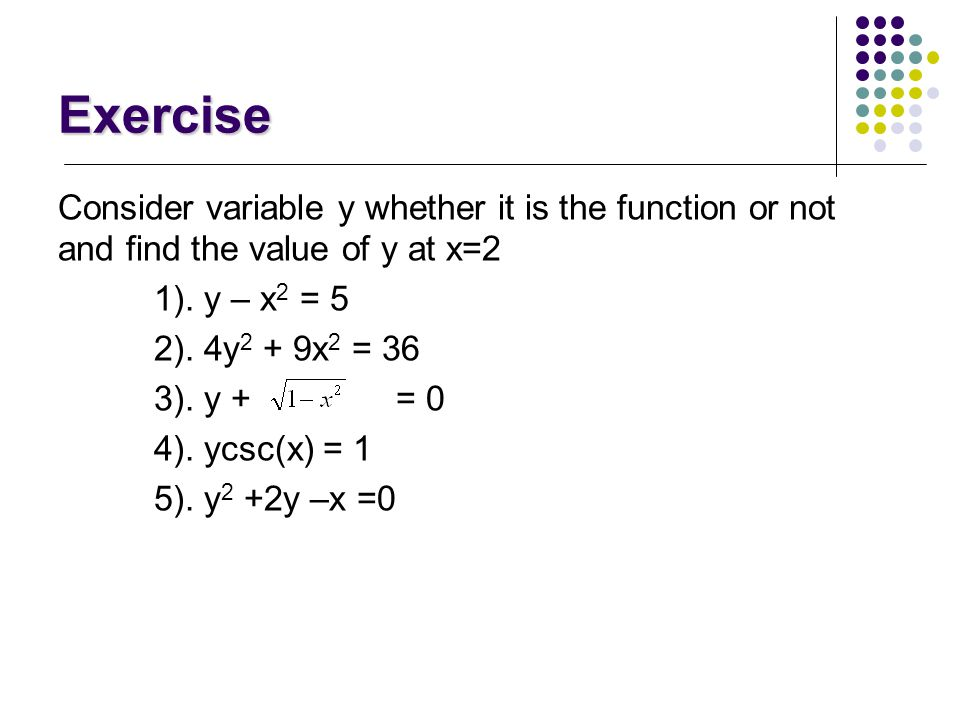 Functions Mathematical definitions y is a function of x. 1). If variable y depends on a variable x in such a way that each value of x determines exact