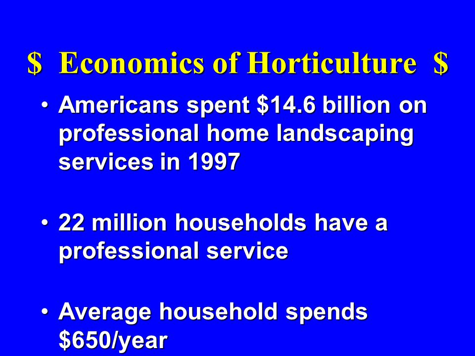 Americans spent $14.6 billion on professional home landscaping services in 1997Americans spent $14.6 billion on professional home landscaping services in 1997 22 million households have a professional service22 million households have a professional service Average household spends $650/yearAverage household spends $650/year
