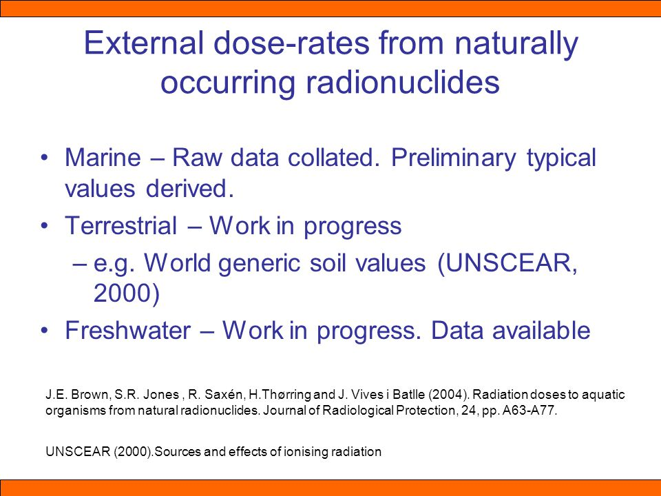 External dose-rates from naturally occurring radionuclides Marine – Raw data collated.