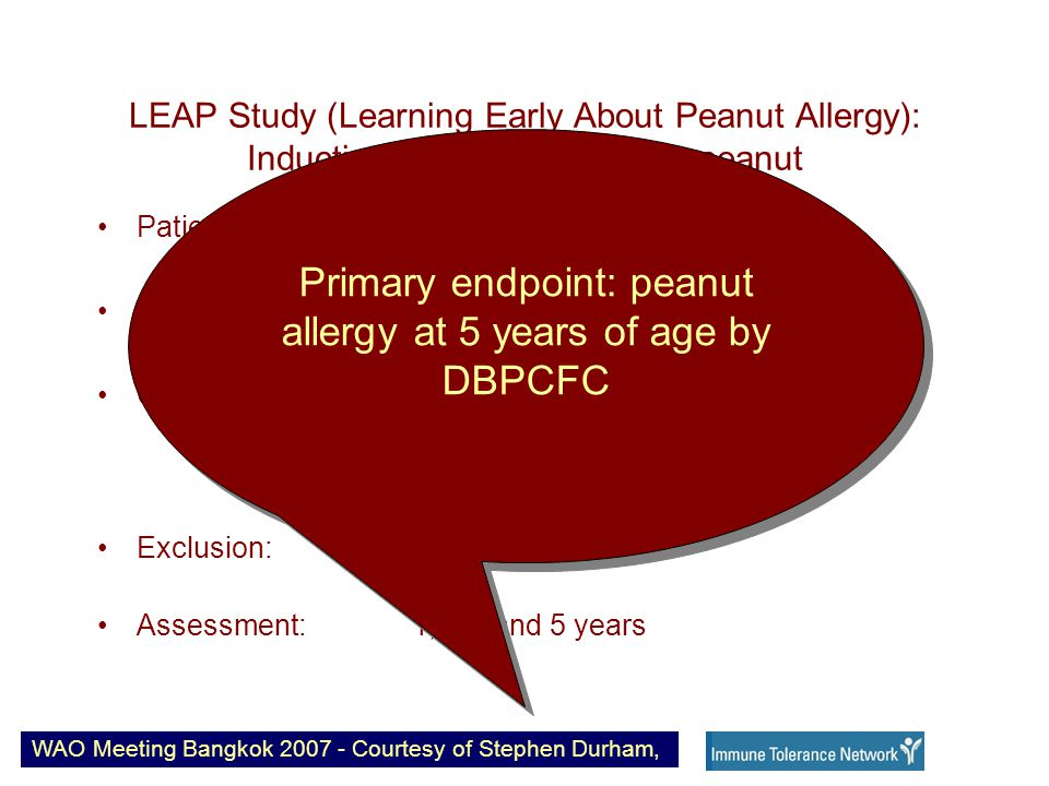 LEAP Study (Learning Early About Peanut Allergy): Induction of oral tolerance to peanut Patients: 480 Age: 4-11 months Criteria: Severe eczema Egg allergy SCORAD>40 Exclusion: Peanut allergy Assessment: 1, 2.5 and 5 years WAO Meeting Bangkok 2007 - Courtesy of Stephen Durham, Primary endpoint: peanut allergy at 5 years of age by DBPCFC