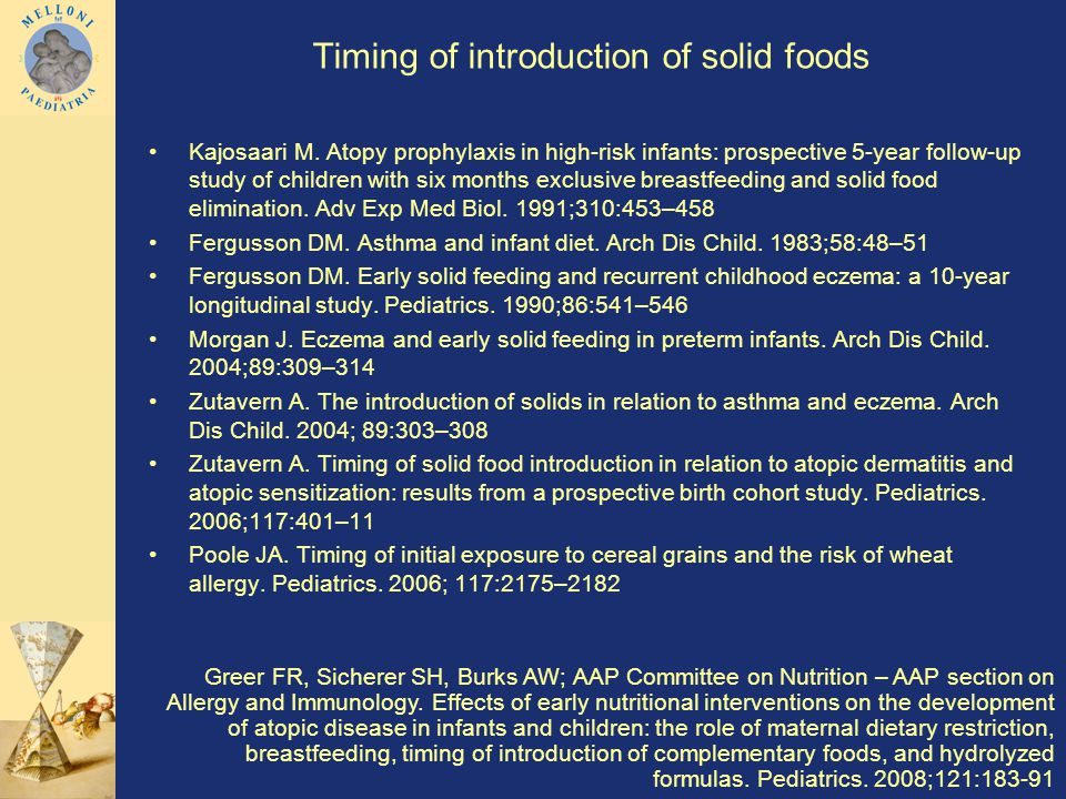 Timing of introduction of solid foods Kajosaari M.