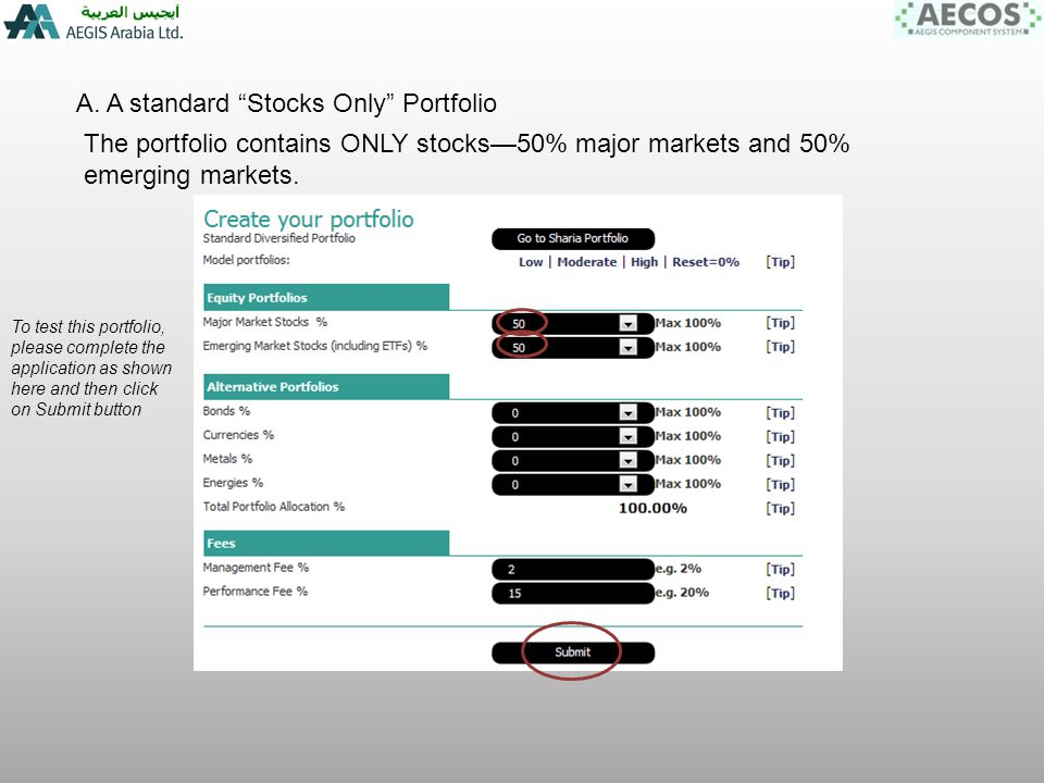 A.Stocks Only Portfolio We see the total Portfolio is 100% of capital.