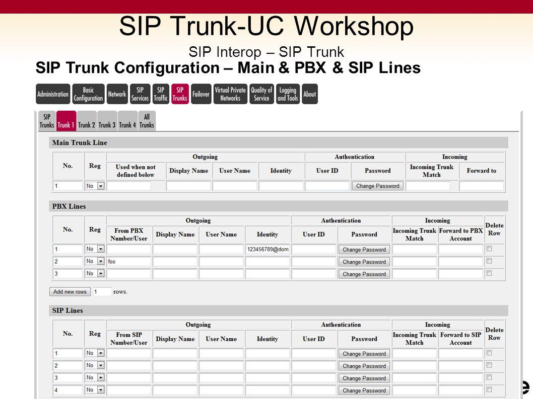 SIP Trunk Configuration – Main & PBX & SIP Lines SIP Trunk-UC Workshop SIP Interop – SIP Trunk