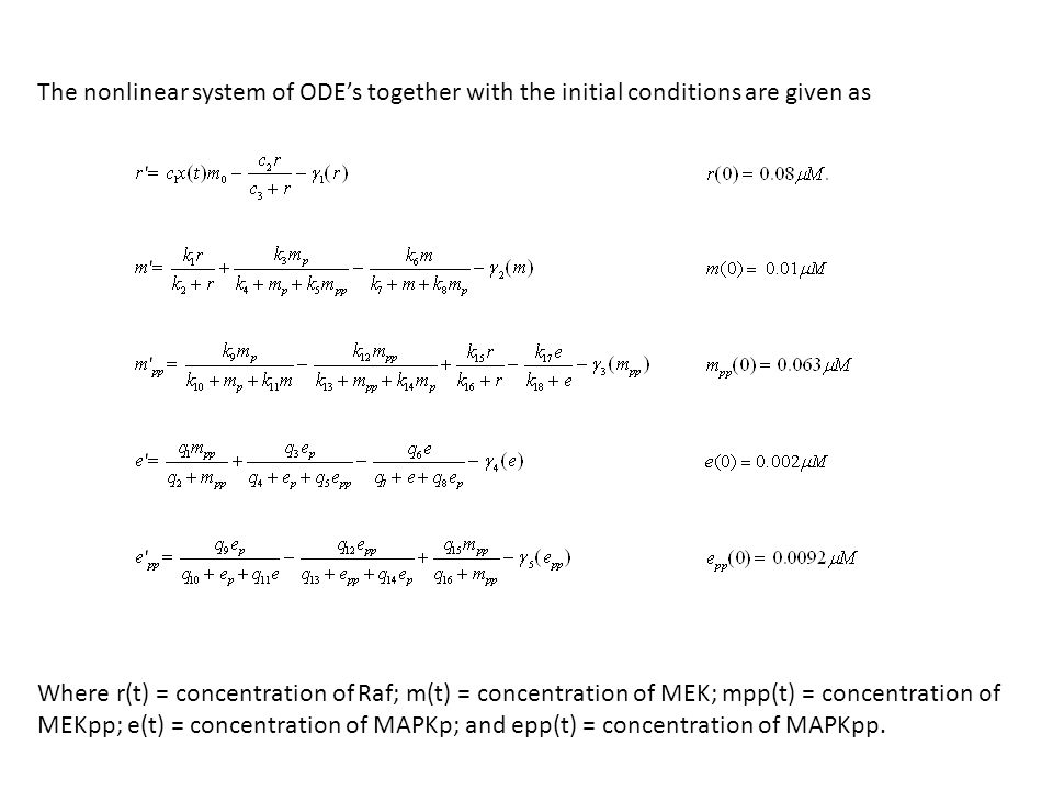 The nonlinear system of ODEs together with the initial conditions are given as Where r(t) = concentration of Raf; m(t) = concentration of MEK; mpp(t) = concentration of MEKpp; e(t) = concentration of MAPKp; and epp(t) = concentration of MAPKpp.
