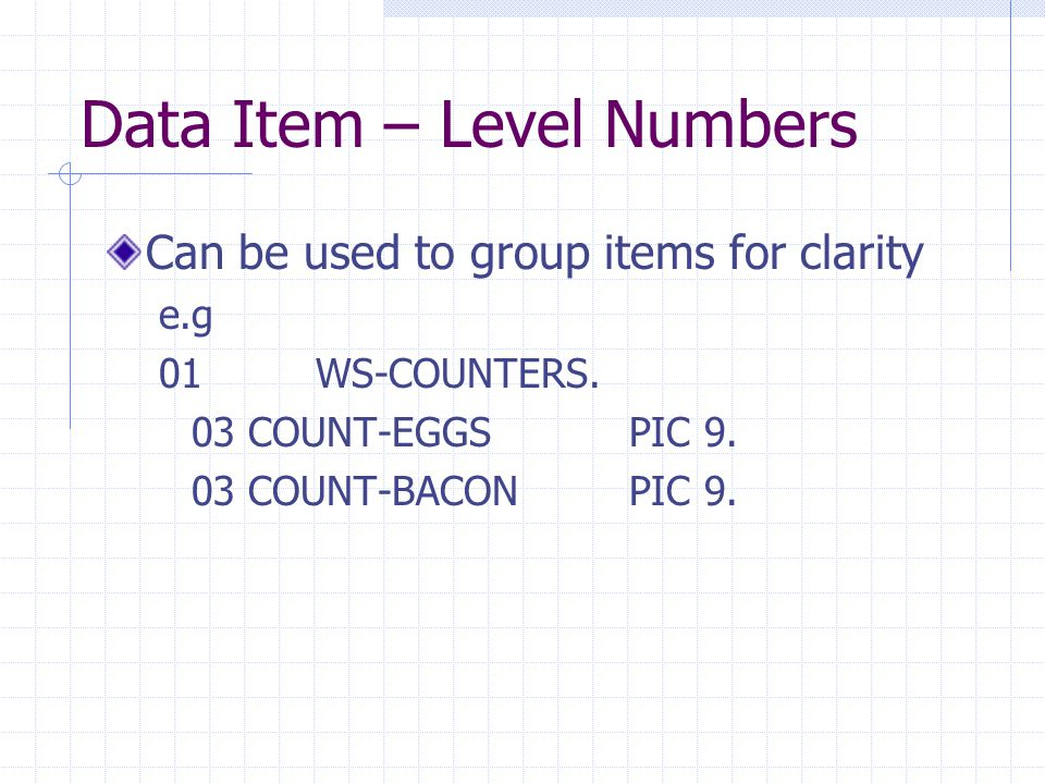 Data Item – Level Numbers Can be used to group items for clarity e.g 01WS-COUNTERS.