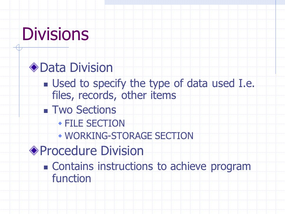Divisions Data Division Used to specify the type of data used I.e.