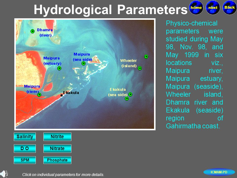 ICMAM-PD Hydrological Parameters Physico-chemical parameters were studied during May 98, Nov. 98, and May 1999 in six locations viz., Maipura river, M
