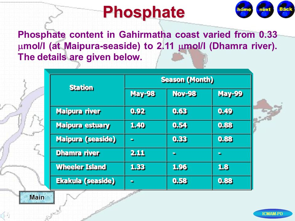 ICMAM-PDPhosphate Phosphate content in Gahirmatha coast varied from 0.33 mol/l (at Maipura-seaside) to 2.11 mol/l (Dhamra river).
