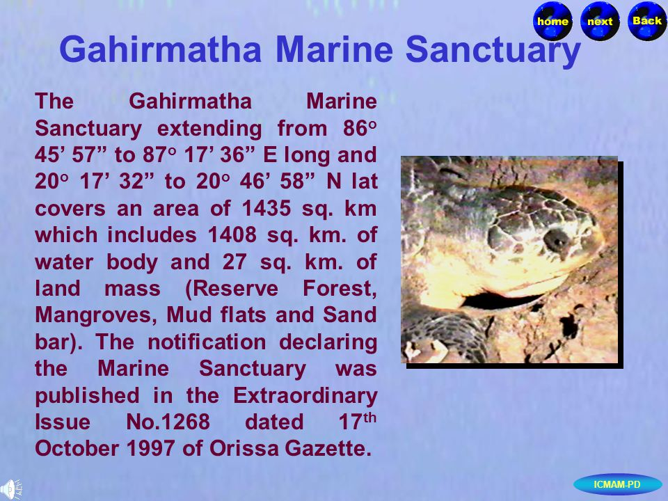 ICMAM-PD Gahirmatha Marine Sanctuary The Gahirmatha Marine Sanctuary extending from 86 o 45 57 to 87 o 17 36 E long and 20 o 17 32 to 20 o 46 58 N lat covers an area of 1435 sq.